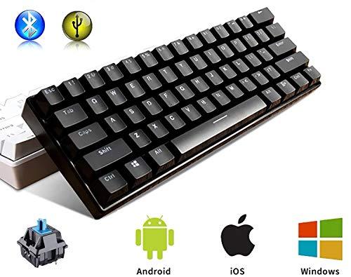 METIS メカニカルキーボード 機械式 ゲーミングキーボード 61キー Bluetooth 無線 USB 有線 青軸 防水 充電式 LEDバックライト オフィス/ゲーミング用 英語配列 日本語取扱説明書 (61キー, 黒色)