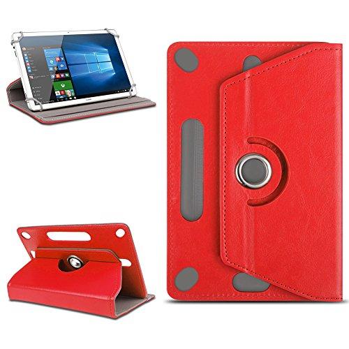 Odys Score Plus 3G Universal Tablet Tasche mit Ständerfunktion Hülle Tablet von NAmobile Schutztasche Schutzhülle Stand Tasche Etui Cover Case hochwertige Optik Farbauswahl 360° drehbar, Farben:Rot
