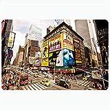 Alfombra de baño Amarillo NYC Ciudad de Nueva York 22 de Agosto Times NY Broadway Parques Apartamento Calle Ángulo Avenida Distrito Alfombras de baño de Felpa Decorativas Alfombras Decoración Felpudo
