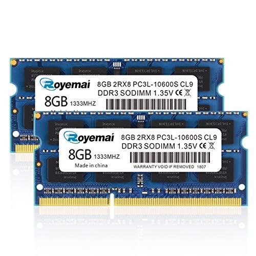 DUOMEIQI 16GB Kit (2X8GB) DDR3 1333MHz 10600 Sodimm Arbeitsspeicher 2Rx8 1,35V CL9 Non-ECC Notebook Module für MacBook iMac