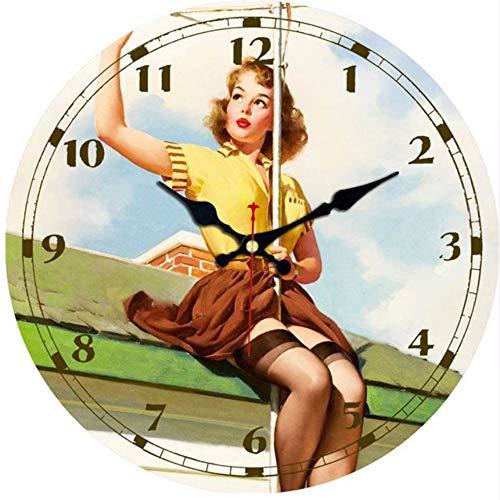 Djkaa Vintage horloges rond dameshorloge design woonkamer stil kantoor keuken decoratie muur kunst horloges vintage groot horloge hout 14 inch