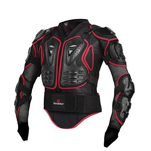 Zyurong, Corpetto Rinforzato Completo, Con Protezione Per La Spina Dorsale, Adatto Per Motocross, Motociclismo, Mountain Bike, Skateboard E Snowboard, Colore Nero/Rosso