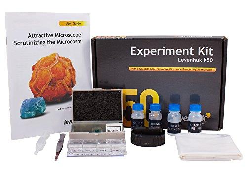 Levenhuk K50 Experiment Kit for Microscope Observations (User Guide, Forceps, Dropper, Blank Slides, Prepared Slides, Flasks with Yeast, Brine Shrimp, Sea Salt and Pitch Included)