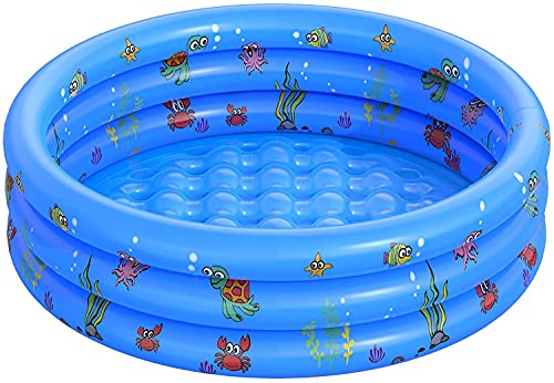 Piscine Gonflable de Rembourrage de Petite Piscine pour Enfants Ronde Pliable en PVC pour Douche familiale Baignoire Portable en Centre de Jeu de leau pêche (100 CM)