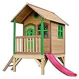 AXI Spielhaus Tom mit roter Rutsche   Stelzenhaus in Braun & Grün aus FSC Holz für Kinder   Spielturm für den Garten