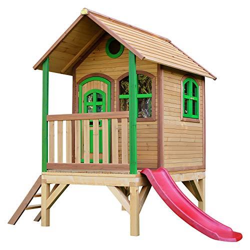 AXI Tom Maison Enfant avec Toboggan rouge | Aire de Jeux pour l'extérieur en marron & vert | Maisonnette / Cabane de Jeu en Bois FSC