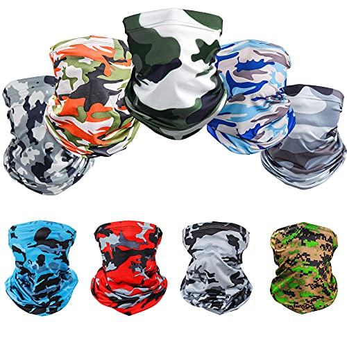 Cooling Neck Gaiter Face Mask Bandanas Balaclava Reusable Washable UV Protection Breathable Face Cover Scarf for Men & Women (9-Camo)