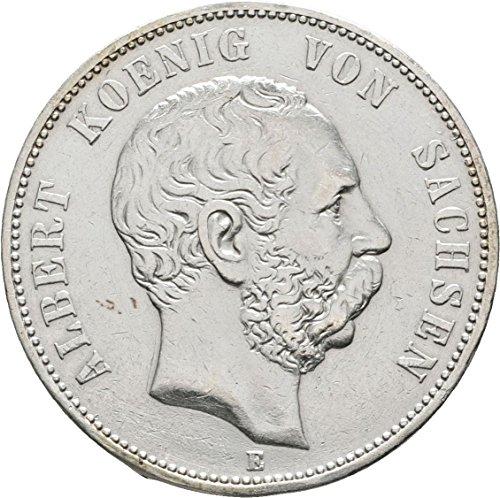 Münze 5 Mark 1876 E Albert König von Sachsen - Jäger Nr. 122 - Kaiserreich - Silbermünze
