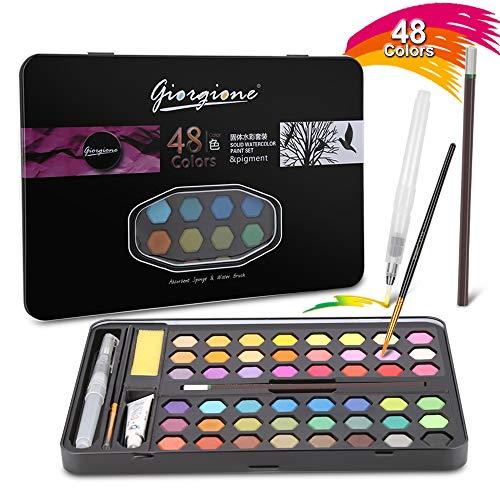 Aquarellfarben Set Aquarellkasten mit 48 Wasserfarben, 8 Aquarellpapier 1 Bleistift,1 Pinsel, 1 Wassertankpinsel,1 Aquarellfarbe zum Malent, Wasser absorbierender Schwamm, für Studenten, Kinder