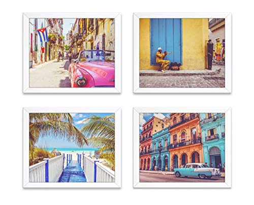 Vintage Vibrant Cuba Photography Photographic Prints, Set of 4, Unframed, Antique Cars, Musician, Beach Coastal Art Decor Poster Sign, 8x10 Inches