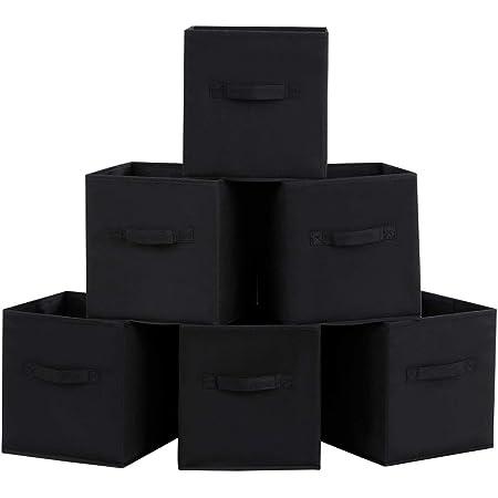 SONGMICS Lot de 6 Boîtes/Tiroirs en Tissu Cube de Rangement Pliable Coffre pour Linge, Jouets, Vêtement 26 x 26 x 28 cm Noir ROB26H