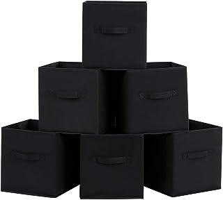 SONGMICS Lot de 6 Boîtes/Tiroirs en Tissu Cube de Rangement Pliable Coffre pour Linge, Jouets, Vêtement 26 x 26 x 28 cm No...