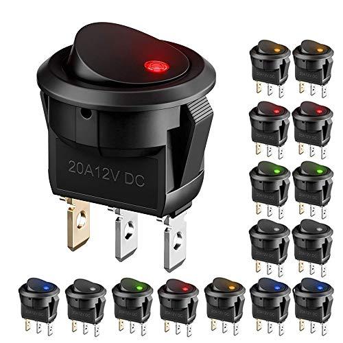 15 x Auto KFZ Kippschalter EIN/AUS Wippschalter, DC 12v 20A LED beleuchtet Runde Schalter Wippschalter Button mit 5 Farbe LED Dot beleuchte