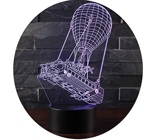Win-Y 3D Lámpara de Escritorio, Y LED 7 del tacto del color de la lámpara del dormitorio del hogar decoración de la oficina para los niños y regalo de Navidad de cumpleaños (Fire Balloon Boat)