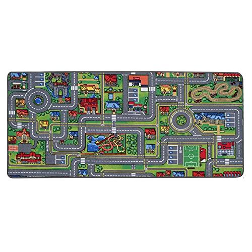 Spielteppich mit Straßen - Streets, 95x200 cm, Pflegeleicht, Fußbodenheizung Geeignet, Spielmatte, Auto-Kinderteppich für Mädchen & Jungen