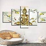 DGGDVP HD Printing Wall Art Pinturas de Lienzo 5 Piezas Meditación de Buda y póster de Carpa Cuadros modulares Decoración para Sala de Estar Tamaño 2 Sin Marco