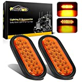 Partsam 2pcs 6 inch Oval Amber LED Trailer Lights 24LED, 6