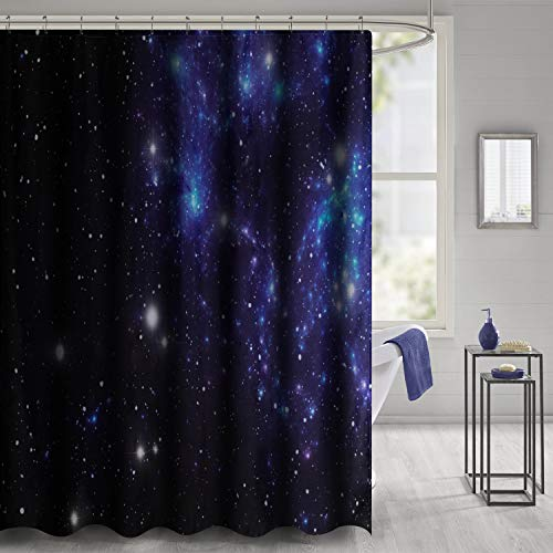 VVA Fabric Shower Curtain with Hooks for Bathroom Waterproof,Machine Washable,Breathable,72x72 inch,Constellation,Outer Space Star Nebula Astral Cluster Astronomy Theme Galaxy Mystery,Blue Black