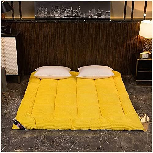 DOOGL Colchón de terciopelo para piso, doble tamaño Queen King plegable futón, colchón grueso enrollable, suave y portátil Tatami piso cama colchón (amarillo, completo)