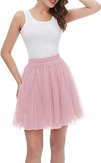 Girstunm Women's Elastic Waist Dancing Dress Princess Mesh Tulle Above Knee Skirts