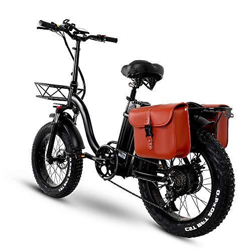 CMACEWHEEL Y20 Folding Electric Snow Bike, 750W Motor, 48V 15Ah Battery, 20 Inch Mountain Bike Fat Bike, Pedal Assist E-bike with Basket (15Ah + Bag)