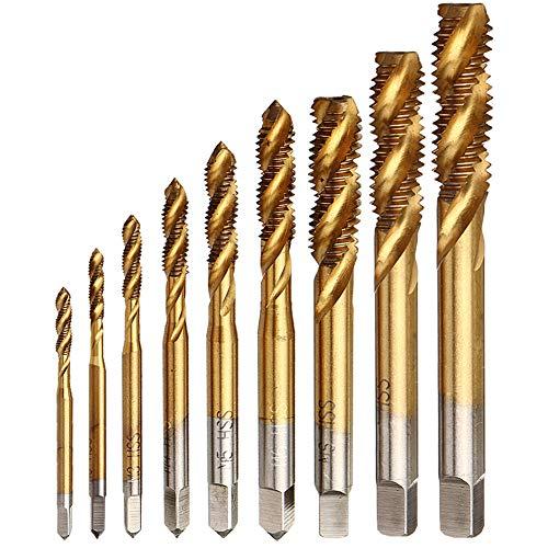 Yakamoz 9pcs Machine Screw Tap Set Titanium Spiral Flute Drill Taps Metric M2 M2.5 M3 M4 M5 M6 M8 M10 M12 Thread Tapping Tool