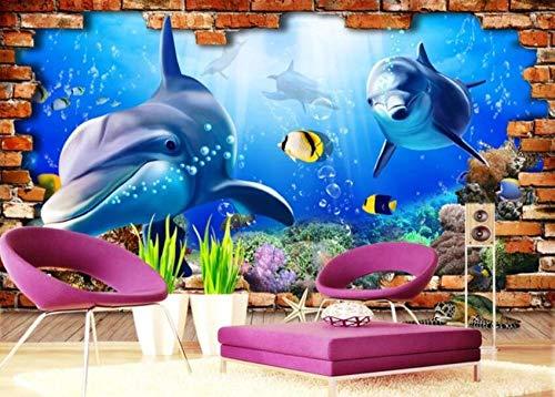 Underwater world dolphin 3d TV background wall-430 * 300