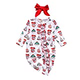 Geagodelia - Disfraz para niños de Navidad, de manga larga con volantes + banda roja - Mono de Navidad para niña Bianco 18-24 meses