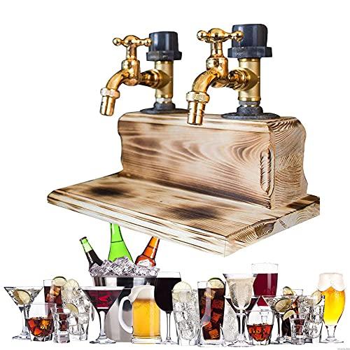 Dispensador de licor de forma de grifo, Dispensador de madera de Whisky Alcohol Dispensador de vinos con disperso, bebidas y bebidas Dispensador de bebidas con grifo, Bombas de barras