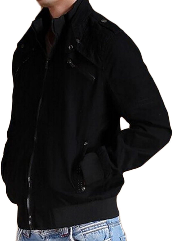 - - - Fulok Mens Autumn Stand Collar Multi Pocket Slim Casual Outwear Jacket 928d05