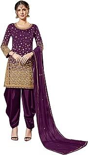 Mirror Work Silk Punjabi Salwar Kameez Patiyala Party Ready to Wear Suit Indian Women 8105