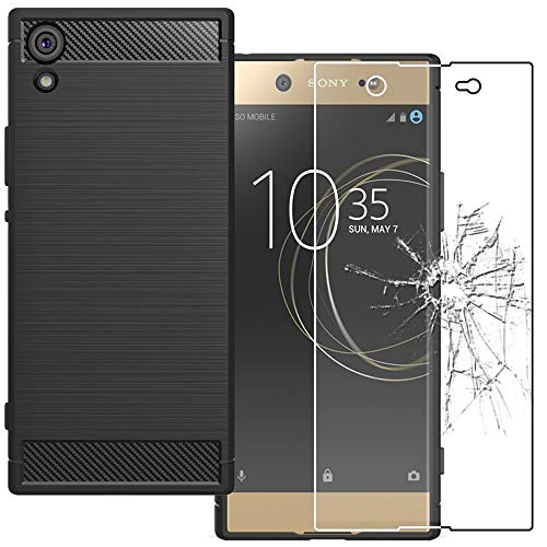 ebestStar - kompatibel mit Sony Xperia XA1 Ultra Hülle XA1 Ultra/Dual (2017) Kohlenstoff Schutzhülle, TPU Handyhülle Flex Silikon Hülle, Schwarz +Panzerglas Schutzfolie [Phone: 165x79x8.1mm 6.0