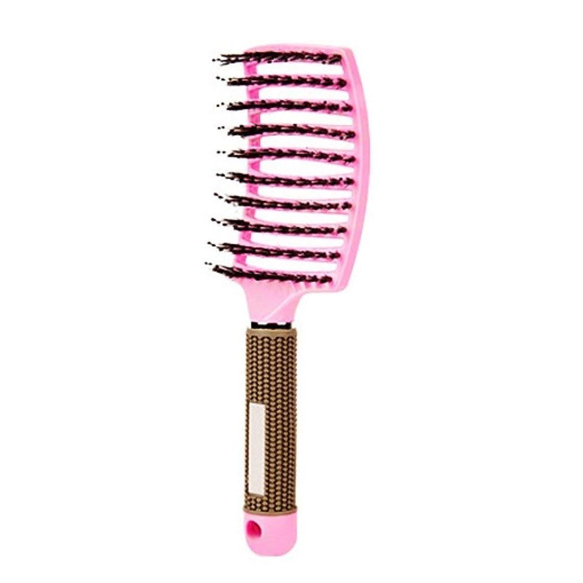 知覚的六円周ヘアブラシ帯電防止理髪店サロンヘアケア歯のマッサージヘアコーム - ピンク