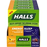HALLS Energy & Sleep Dietary Supplements, Tropical & Mixed Berry Flavors, 4 Pack (56 Daytime Drops, 28 Nighttime Drops)