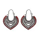 FEARRIN Pendientes Coloridos Pendientes geométricos de Color Plateado Hueco Pendientes Colgantes de línea roja para Mujer Style8