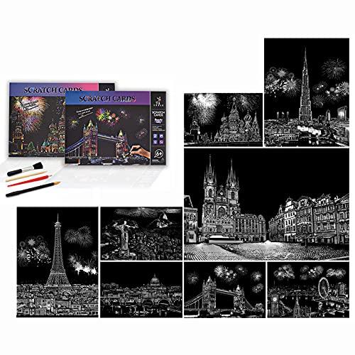 Niewalda Scratch Painting & Scratch Cards A4 per Bambini e adulti, 8 pezzi Scratch Art per adulti Scratch Paper arcobaleno, Set di incisioni artistiche - (Bella città)