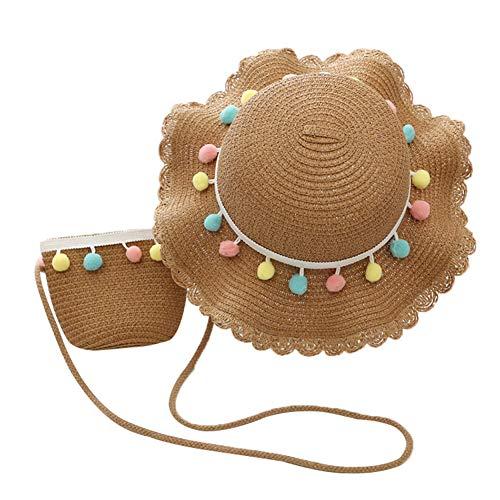 Asudaro Conjunto De Sombrero y Bandolera De Sol De Playa para Bebé, Conjunto De Sombrero y Bolso De Paja con Volantes De Bola De Color Ancho para Niñas