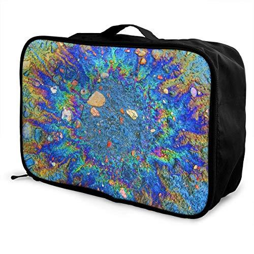 Bolsas de Maleta Colorful Radiation Rainbow Stone Travel Lightweight Waterproof Foldable Storage Portable Luggage Duffle Tote Bag Large Capacity In Trolley Handle Bags Overnight Bag