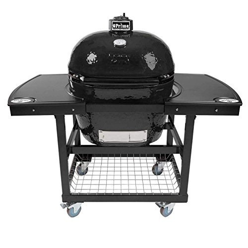 Review Of Primo Oval XL 400 Ceramic Smoker Grill On Cart with 1-Piece Jack Daniel's Island Top