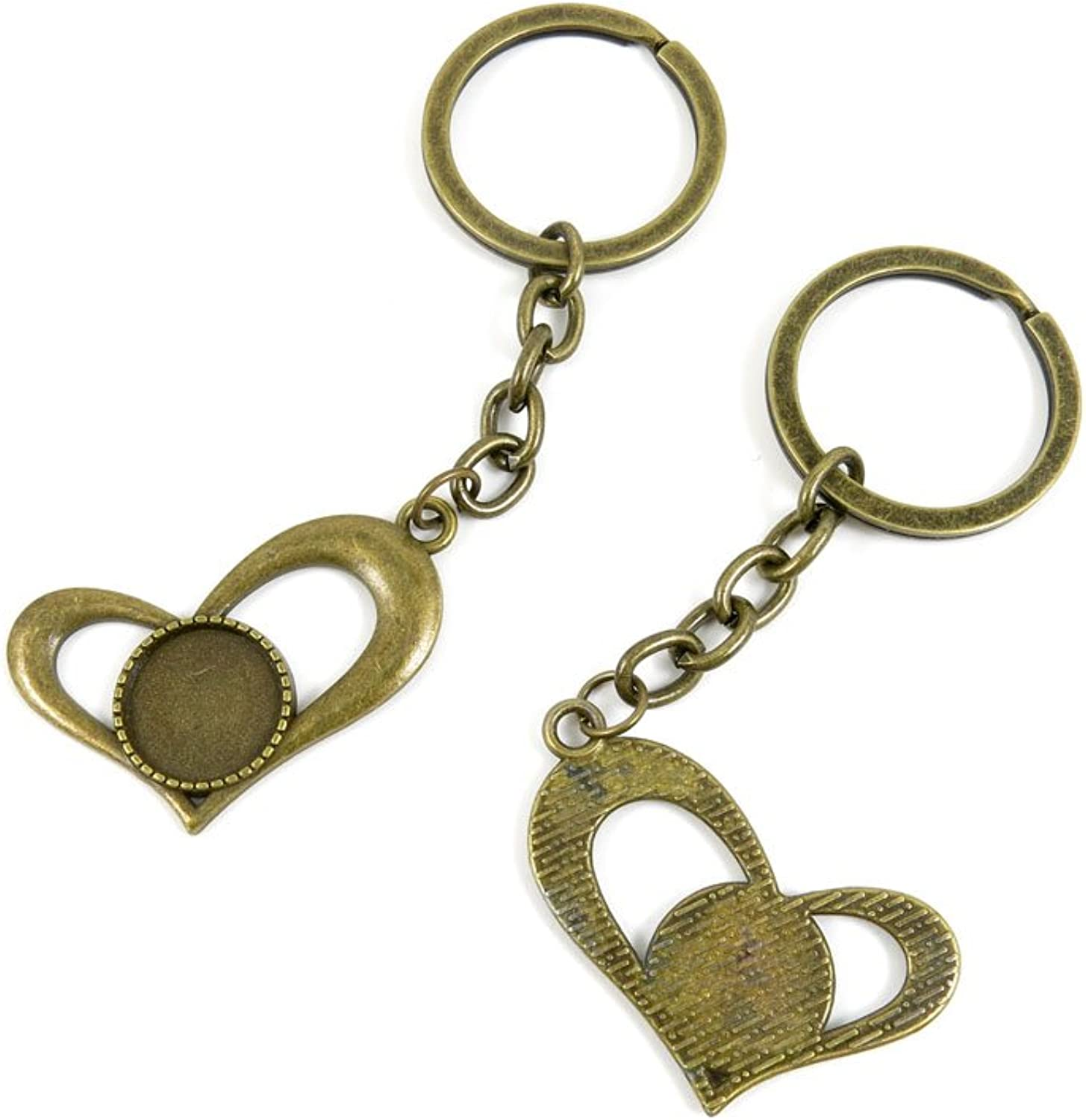 150 Pieces Fashion Jewelry Keyring Keychain Door Car Key Tag Ring Chain Supplier Supply Wholesale Bulk Lots D0AJ6 Heart Cabochon Base Blanks