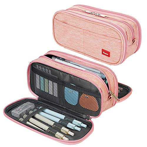 Large Pencil Case Big Capacity Pencil Bag Large Storage Pouch 3 Compartments Desk Organizer Marker Pen Case Simple Stationery Bag Pencil Holder (Pink)