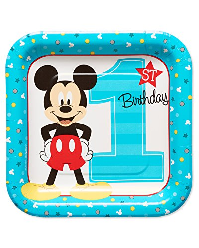 """American Greetings 5795243 Mickey Mouse First Birthday 7"""" Dessert Plates, 8-Count"""