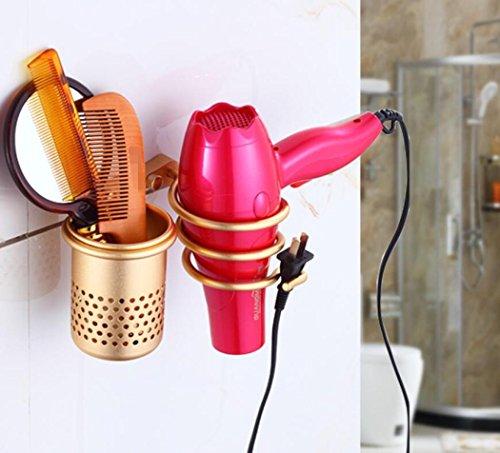 LD&P Espace aluminium Supports de séchoir à cheveux Étagères de salle de bain Étagères murales multifonctionnelles de salle de bains,Gold