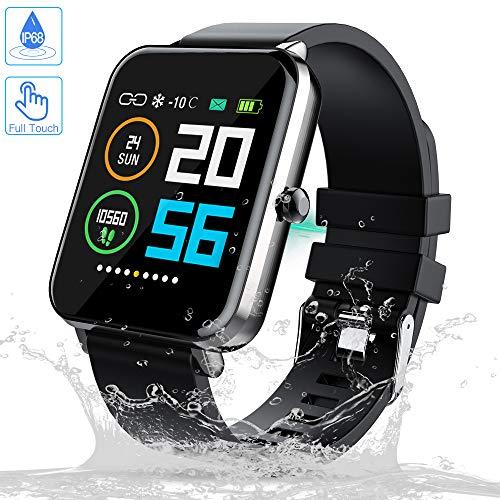 Zagzog Smartwatch Voller Touchscreen 1,54 Zoll HD-Bildschirm Smart Watch IP68 Wasserdicht Lange Standby-Fitness-Tracker GPS-Sportuhr Unisex-Schrittzähler Herzfrequenz Schlafüberwachung für iOS Android