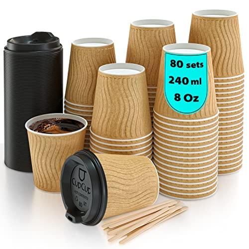 110 Vasos Desechables Ondulación Kraft de Doble Pared de Café para Llevar - Vasos Carton 240 ml 8 Onzas con Tapas y Agitadores de Madera para Servir el Café, el Té, Bebidas Calientes y Frías