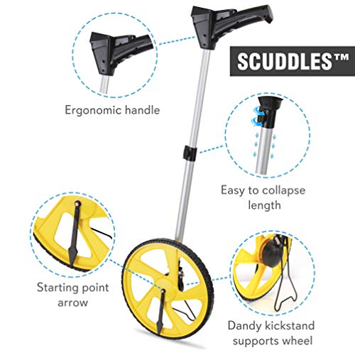Scuddles Measuring Wheel Digital Display 12-Inch Can Measure Up To 10,000 Feet - Wheel Measure Perfect Surveying Tool For Distance Measurement - Rolling Precision Measuring Wheels (Telescoping)