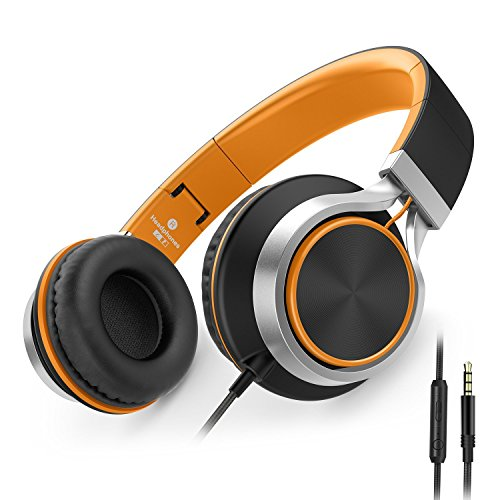 AILIHEN C8 Foldable Headphones with Microphone and Volume Control Lightweight Stereo Headsets for iPad 3.5mm Android Cellphones Smartphones Laptop Computer Mp3(Black/Orange)