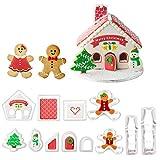 Orapink - Juego de 12 cortadores de galletas de Navidad de plástico para galletas de Navidad en 3D, para casa de pan de jengibre, muñeco de nieve para fondant galletas DIY