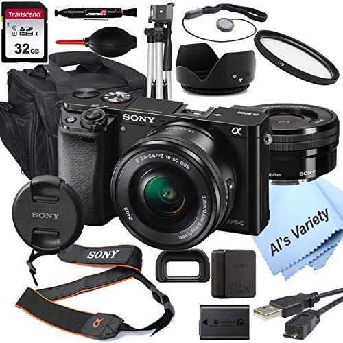 Sony Alpha a6000 Mirrorless Digital Camera with 16-50mm Lens + 32GB Card, Tripod, Case, and More (18pc Bundle)