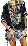 Chase Secret Womens Summer Comfy Boho V Neck Short Sleeve Tunics Tops Blouses Tshirts Large Black